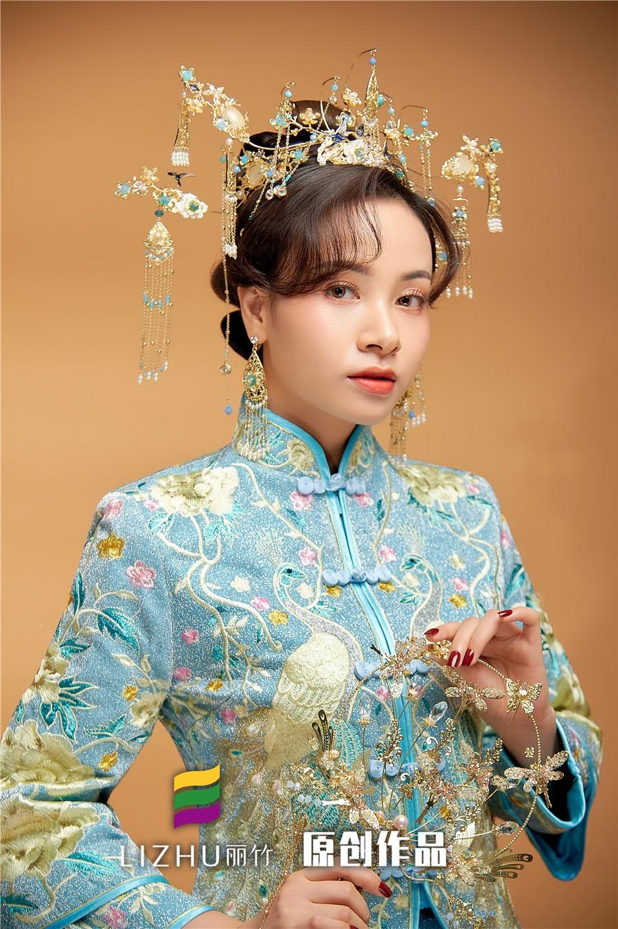 中国蓝秀禾新娘造型